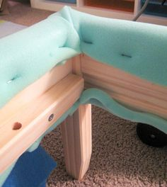 Budget-friendly DIY tutorial: How to upholster an Ikea Fjellse bed frame (or any simple wooden bed frame) Ikea Headboard, Upholstered Bed Frame, Fabric Headboards, Ikea Bed Frames, Wooden Bed Frames, Timber Frames, Simple Bed Frame, Diy Bed Frame, Corner Bed Frame