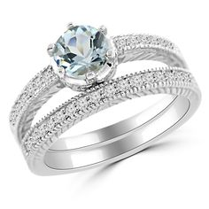Aquamarine & Diamond Matching Engagement Ring Set Antique