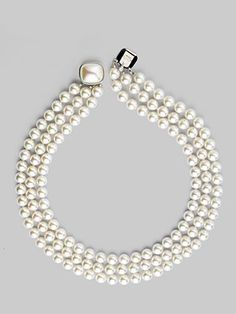 """Majorica 8MM White Pearl Three-Row Necklace/16"""""""