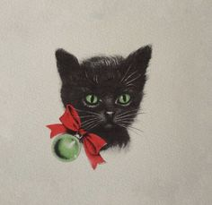 Christmas •~• vintage greeting card of black cat with red bow collar & green ornament