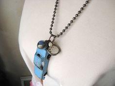 Vintage Blue Toy Car. Soldered Lace Charm. Soldered Vintage Marble. Charm Necklace. $34.00, via Etsy.