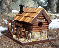 https://flic.kr/p/7tvDdB | Old Mill Log & Stone Bird House | Old Mill Log & Stone Bird House. The water wheel actually turns.