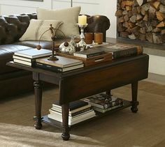 Avery Drop-Leaf Coffee Table #potterybarn... i love these, they are so versatile, sofa table, desk or dining table when you have extra guests for dinner!