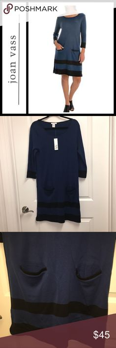 Joan Vass Border Stripe dress NWT New with tags, Joan vase striped colorblock tunic / dress - size 2 which is a 12/14 in women's - super cute with black leggings or just a pair of pumps or boots!! joan vass Dresses Long Sleeve