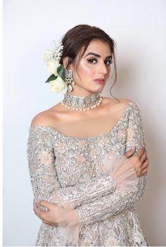 Bridal collection from L'Oreal fashion week 2019 #bridaljewelry #weddingdresses Pakistani Formal Dresses, Pakistani Wedding Outfits, Pakistani Wedding Dresses, Pakistani Dress Design, Bridal Outfits, Wedding Hijab, Stylish Dresses For Girls, Stylish Dress Designs, Wedding Dresses For Girls