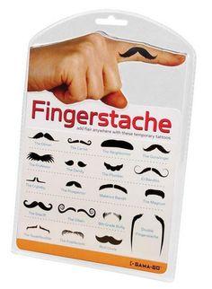 Finger Moustache Tattoos $5.95 from tuskhomewares.com.au