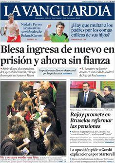 Los Titulares y Portadas de Noticias Destacadas Españolas del 6 de Junio de 2013 del Diario La Vanguardia ¿Que le parecio esta Portada de este Diario Español?