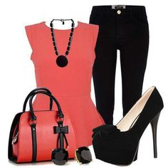Hot caral and black