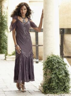 Beaded Mermaid Dress from Midnight Velvet®. Romantic, sheer flutter sleeves and dipped neckline, with beaded bodice. Layered mermaid hem adds dramatic flair. www.midnightvelvet.com