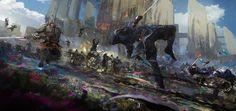 Shadow Fight (Battle at the source), Wadim Kashin on ArtStation at https://www.artstation.com/artwork/d9gXx