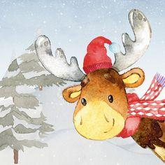 UtArt: Waldfreunde im Winter- Der lustige Elch - Alubild #Woodland #Friends #Animals #illustration #winter #christmas #children #kids #wallart