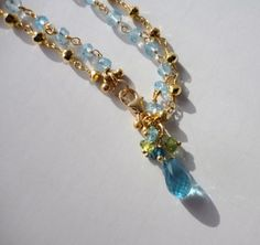Blue Topaz Gemstone Charm Bracelet Gold by veroniquesjewelry