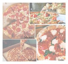 """Pizza you two love"" by sassy-queen01 ❤ liked on Polyvore featuring 5sos, preferences, pizza and 5secondsofsummer"