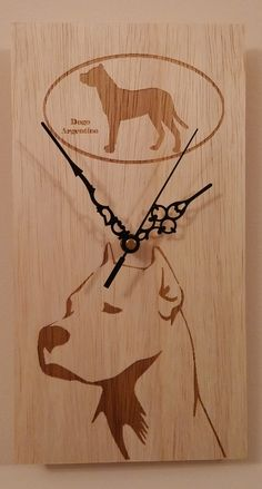 "Handmade wooden wall clock ""dogo argentino"" by KesisArtGR on Etsy"