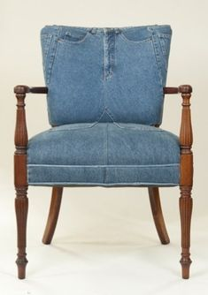 Using jeans to cover a chair, could be a DIY project using any re-upholstery pattern.  this site sells the jean chairs and furniture, but i think anyone who can upholster a chair could do it.