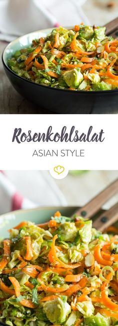 Asien auf deinem Teller: Knackige Rosenkohlstreifen vereinen sich mit Möhren, Mandeln und Sesamsamen zu einer leckeren Mahlzeit.