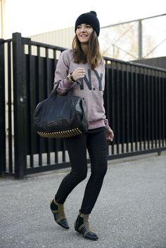 Maison Scotch & Soda sweatshirt, Alexander Wang bag, Anine Bing boots