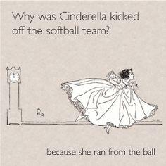 Cinderella joke lunch note, illustration by Molly Brett Cute Jokes, Corny Jokes, Funny Jokes For Kids, Funny Puns, Dad Jokes, Hilarious, Funny Stuff, Funny Softball Quotes, Softball Pictures