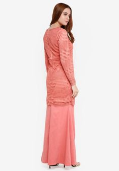 Baju Kurung Crochet Lace - Vercato Atita from VERCATO in pink_2