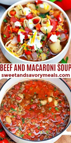 Beef and Macaroni Soup is a great dish for cooler weather! #beef #souprecipes #beefandmacaronisoup #sweetandsavorymeals #soup Recipes For Soups And Stews, Easy Soup Recipes, Vegan Recipes Easy, Brunch Recipes, Dinner Recipes, Slow Cooker Pumpkin Soup, Slow Cooker Soup, Beef Steak Recipes, Ground Beef Recipes