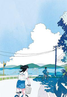Two dimensional art Art And Illustration, Watercolor Illustration, Aesthetic Art, Aesthetic Anime, Film Manga, Digital Museum, Cute Cartoon Wallpapers, Anime Scenery, Landscape Art