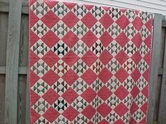 1880s HAND SEWN QUILT with BASKET + DIAMOND Pattern 79 x 68