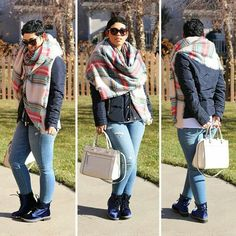 Blanket scarf and blue boots