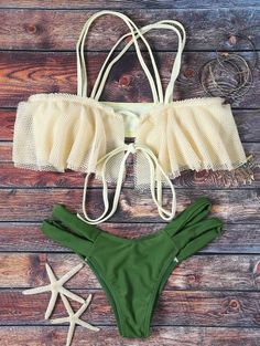 SHARE & Get it FREE | Frill Off The Shoulder Bikini Set - GreenFor Fashion Lovers only:80,000+ Items • New Arrivals Daily Join Zaful: Get YOUR $50 NOW!