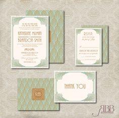 26,00 Printable Wedding Invitation Set Art deco Diy von RoseBonBonShop