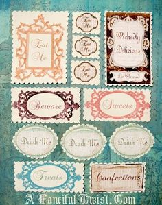 12+Wonderland+Inspired+Candy+Jar+Stickers+by+AFancifulTwist,+$12.00