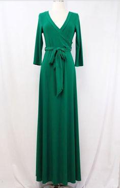 Green faux wrap maxi dress Shannasthreads.com