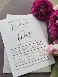 Modern Wedding Invitation simple preppy by sweetinvitationco