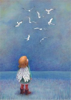 "Artwork by Kathy Hare.  ""All her life, Suzie had dreamed of flying."""