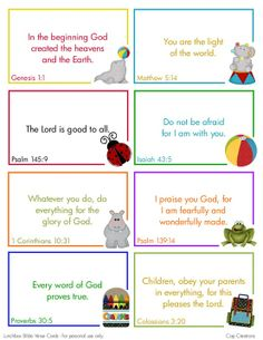 Free Printable Bible Verse Cards cute....could use these with the kids @ in-the-cornerin-the-corner