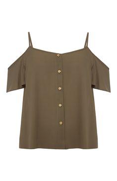 Primark - Khaki Button Cold Shoulder Top