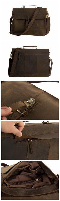 Men's Tote Full Grain Real Leather Shoulder Bag Messenger Bag Laptop Briefcase