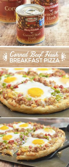 Who doesn't love breakfast for dinner? Take your family's favorite weeknight dinner to the next level with this Corned Beef Hash Pizza recipe. With savory corned beef, crisp bell peppers and onions, soft egg yolk and sharp cheddar cheese on a crunchy crust, this hearty recipe is simply irresistible! Plus, the addition of flavorful MARY KITCHEN® Corned Beef Hash allows for this pizza to be on the table in under 30 minutes! Breakfast Pizza Recipes, Pinoy Breakfast, Breakfast Casserole, What's For Breakfast, Breakfast Dishes, Brunch Recipes, Cornbeef Hash And Eggs, Cornbeef Hash Recipe, Cornbeef Recipes
