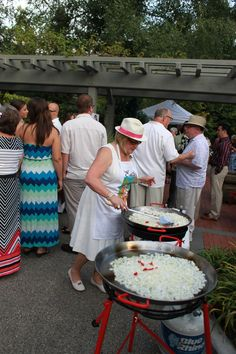 Paella, a way to keep the crowd involved is to make it right in the middle of them! Havana Nights Party Theme, Bridal Showers, Paella, Cuba, Crowd, Party Themes, Middle, Hot, Bridal Shower