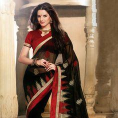 Black Faux Chiffon Saree with Blouse Online Shopping: SBM2791