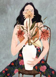 """Print """"Hilda com Vaso"""" por Brunna Mancuso"""