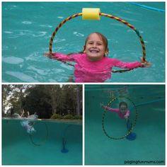 Turn a Hula Hoop into a swimming hoop! Genius hack using the pool noodle!