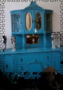 this took some guts! And it's gloriously beautiful! Funky Furniture, Painted Furniture, Furniture Ideas, Vintage Hutch, Dining Hutch, Painted Hutch, Buffet Server, Old Dressers, Galveston