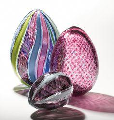 Zanfirico Eggs by Paul Lockwood (Art Glass Sculpture) | Artful Home
