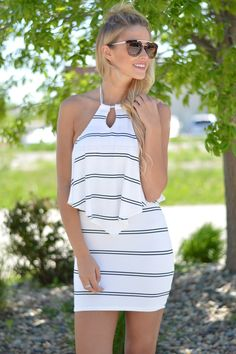 Oasis Stripes Halter Dress | Foi Clothing Boutique | Must Have | Great Length | Flattering Fit | Layer Me Up | V- Neck Keyhole Dress | Halter Top | Buy NOW on Foiclothing.com | Spring and Summer Fashion | Little Black and White Dress |