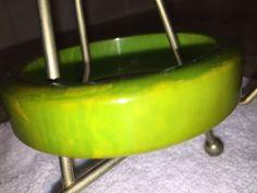 FABULOUS VINTAGE CREAMED CORN PEA SOUP SWIRLED BAKELITE BANGLE BRACELET!- TESTED