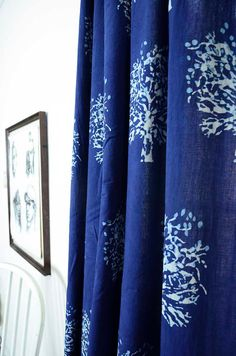** trees curtain tree curtains indigo curtains Hand printed window curtain window treatment housewares home and living decor blue curtains hand printed
