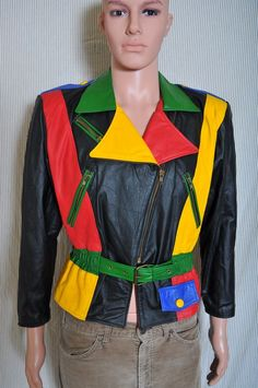 Vintage '80s Comint colorful zip front leather rocker retro belted jacket S #Comint