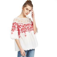 Cute Crochet Blouse Women White Boho Embroidery Red Vine Vintage Summer Tops New Sexy Off Shoulder Cut Out Blouse Check it out! Get it here
