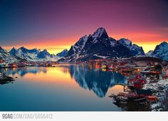 Beautiful lake in Lofoten, Norway