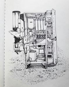 Coffeemachine by OlgaDrik copic 0.1, sketchbook